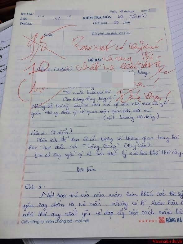 Bài văn sáng tạo đạt điểm tuyệt đối của nữ sinh lớp 11